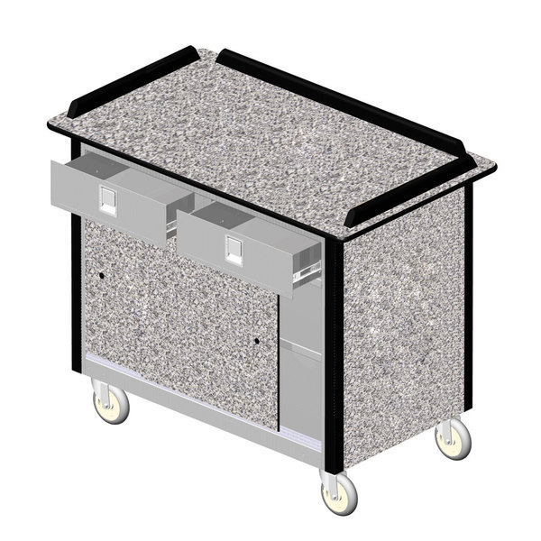 "Lakeside 69020GS Stainless Steel Beverage Service Cart with 2 Utility Drawers and Gray Sand Laminate Finish - 26"" x 44 1/2"" x 37 3/4"" Main Image 1"