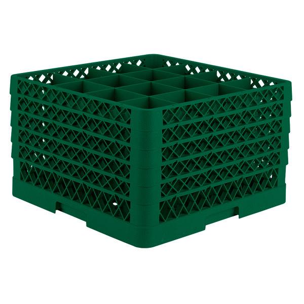 "Vollrath TR8DDDDD Traex® Full-Size Green 16-Compartment 11"" Glass Rack"