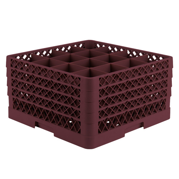 "Vollrath TR8DDDA Traex® Full-Size Burgundy 16-Compartment 9 7/16"" Glass Rack with Open Rack Extender On Top"