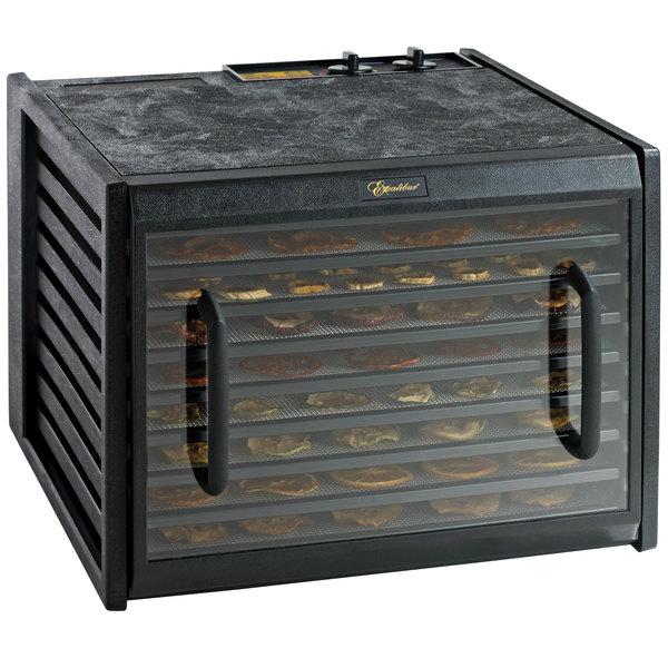 Excalibur 3926TCDB Black Nine Rack Food Dehydrator with Clear Door and Timer - 600W
