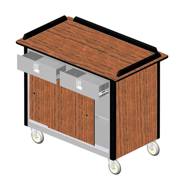 """Lakeside 69020VC Stainless Steel Beverage Service Cart with 2 Utility Drawers and Victorian Cherry Laminate Finish - 26"""" x 44 1/2"""" x 37 3/4"""""""