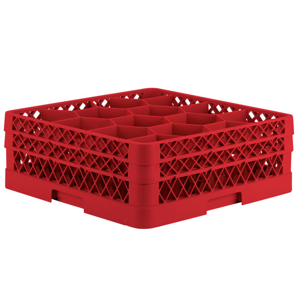 """Vollrath TR18JJ Traex® Rack Max Full-Size Red 12-Compartment 6 3/8"""" Glass Rack"""