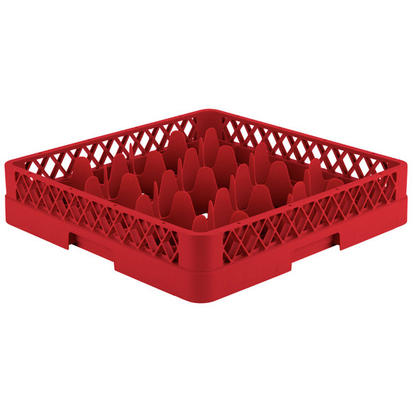 "Vollrath TR18 Traex® Rack Max Full-Size Red 12-Compartment 3 1/4"" Glass Rack"