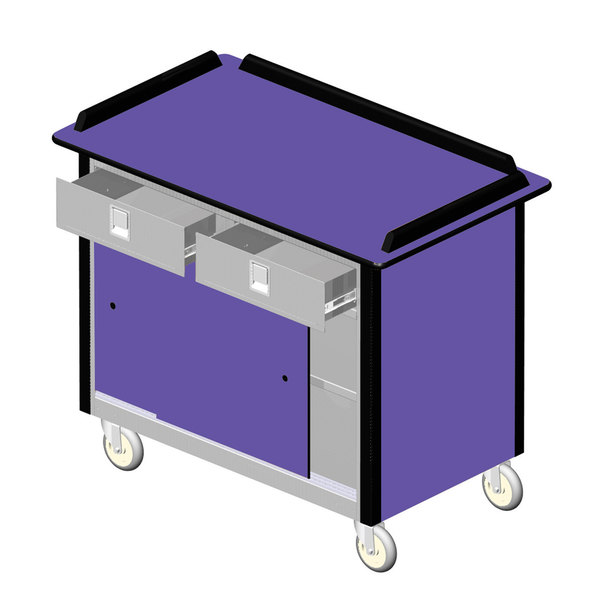 "Lakeside 69020P Stainless Steel Beverage Service Cart with 2 Utility Drawers and Purple Laminate Finish - 26"" x 44 1/2"" x 37 3/4"""