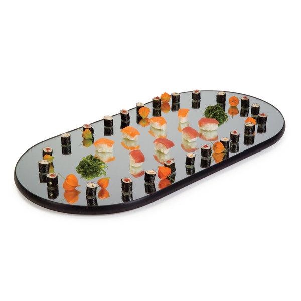 "Geneva 264 Oval Rimless Mirror Food Display Tray - 16"" x 32"""