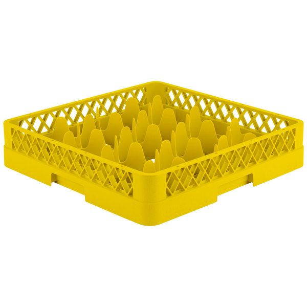 "Vollrath TR18 Traex® Rack Max Full-Size Yellow 12-Compartment 3 1/4"" Glass Rack"