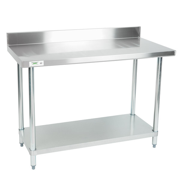 add a dependable work surface to your prep area with this regency 24 x 48 18 gauge 304 stainless steel commercial work table with a 4 backsplash