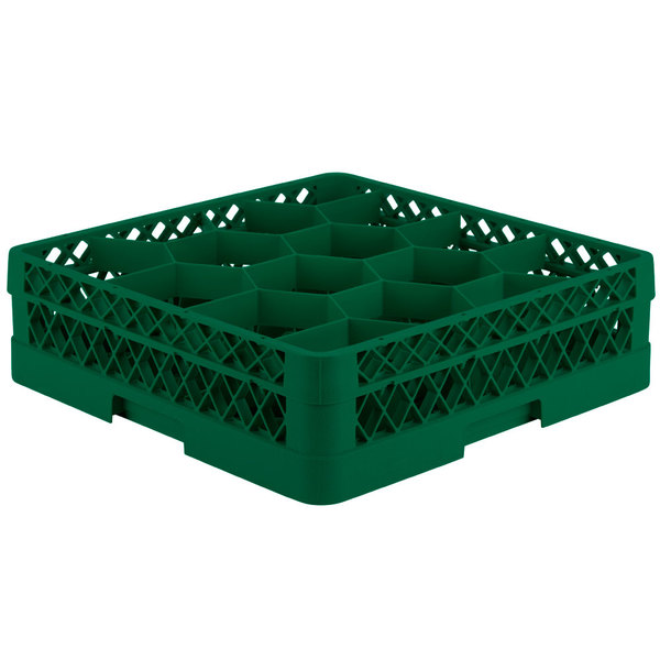 """Vollrath TR18J Traex® Rack Max Full-Size Green 12-Compartment 4 13/16"""" Glass Rack Main Image 1"""