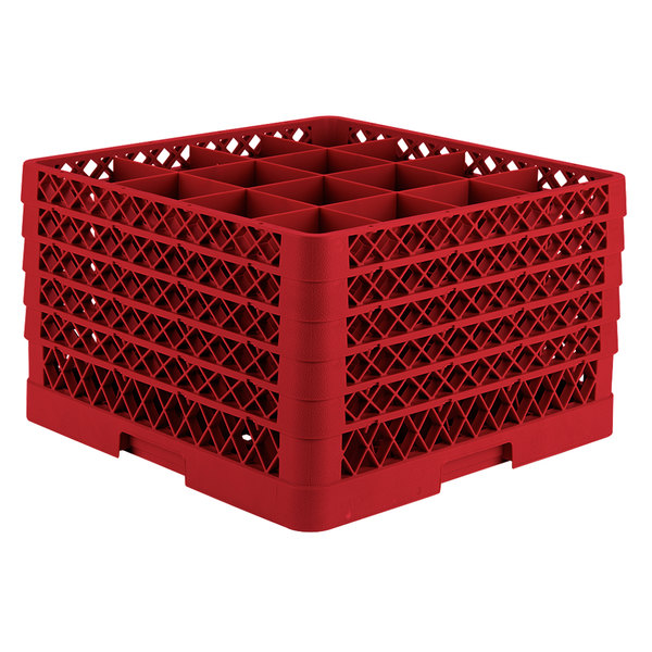 """Vollrath TR8DDDDA Traex® Full-Size Red 16-Compartment 11"""" Glass Rack with Open Rack Extender On Top"""