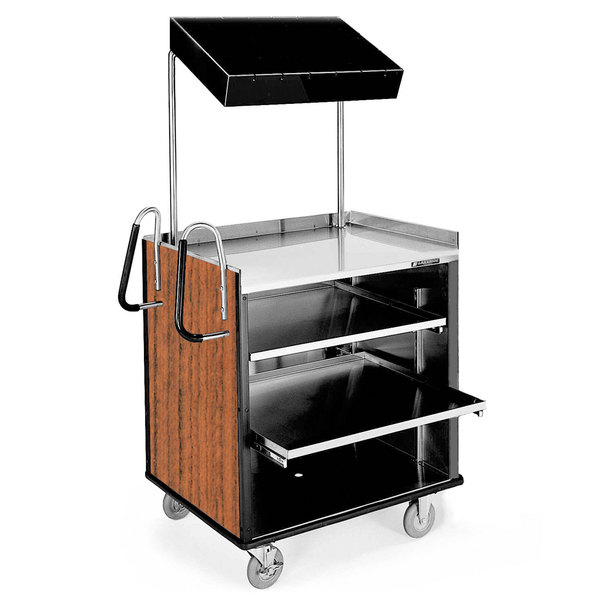 "Lakeside 660 4 Shelf Stainless Steel Compact Vending Cart with Victorian Cherry Laminate Finish - 28 1/4"" x 49"" x 72 1/4"""