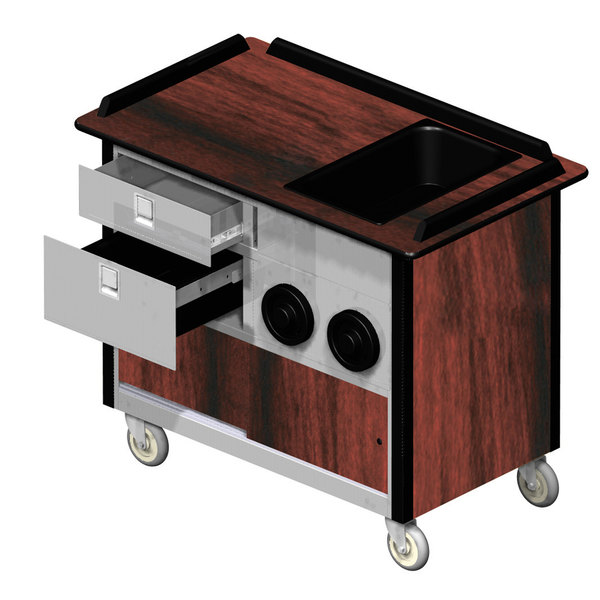 """Lakeside 69010 Stainless Steel Beverage Service Cart with 2 Drawers, 2 Cup Dispensers, and Victorian Cherry Laminate Finish - 26"""" x 44 1/2"""" x 37 3/4"""""""