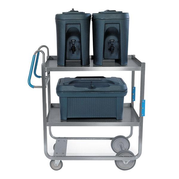 "Lakeside 5930 Stainless Steel Two Shelf Ergo-One System Utility Cart - 57 3/16"" x 21 5/8"" x 46 3/4"""