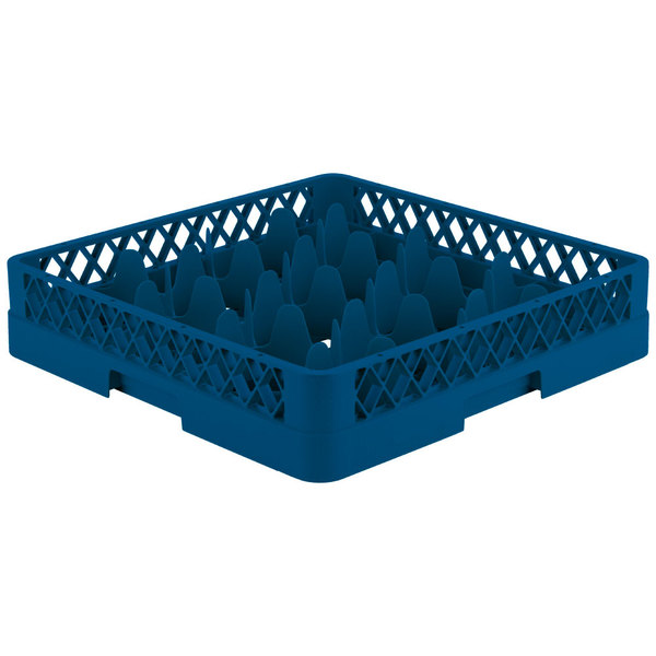 """Vollrath TR18 Traex® Rack Max Full-Size Royal Blue 12-Compartment 3 1/4"""" Glass Rack"""