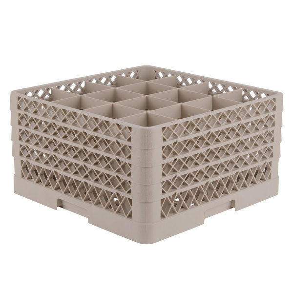 """Vollrath TR8DDDA Traex® Full-Size Beige 16-Compartment 9 7/16"""" Glass Rack with Open Rack Extender On Top"""