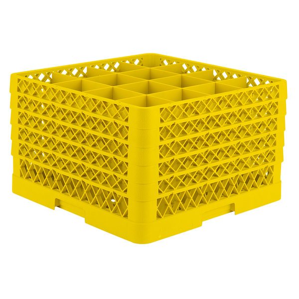 "Vollrath TR8DDDDA Traex® Full-Size Yellow 16-Compartment 11"" Glass Rack with Open Rack Extender On Top"