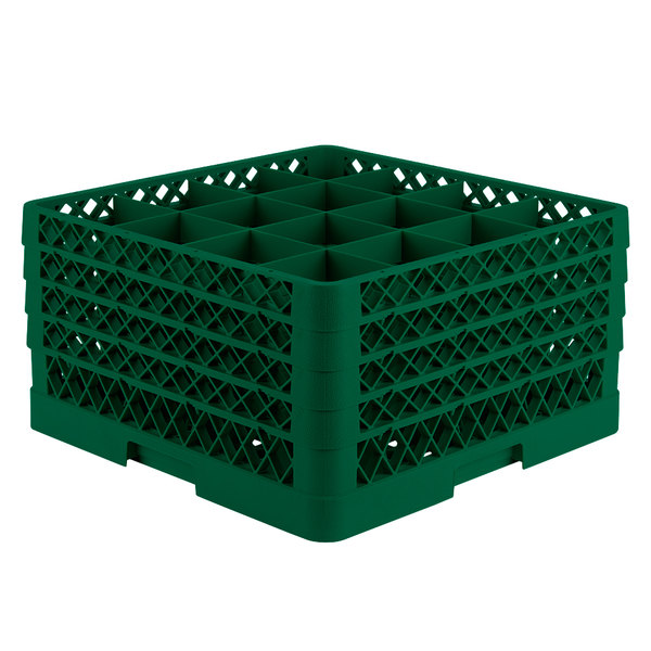 "Vollrath TR8DDDA Traex® Full-Size Green 16-Compartment 9 7/16"" Glass Rack with Open Rack Extender On Top Main Image 1"