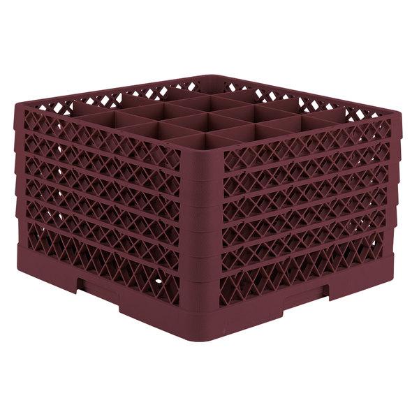 "Vollrath TR8DDDDD Traex® Full-Size Burgundy 16-Compartment 11"" Glass Rack Main Image 1"