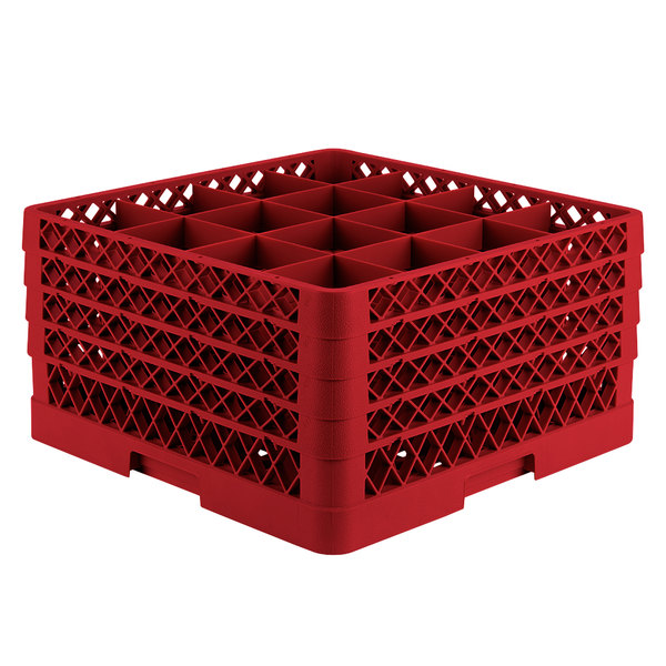"""Vollrath TR8DDDA Traex® Full-Size Red 16-Compartment 9 7/16"""" Glass Rack with Open Rack Extender On Top Main Image 1"""