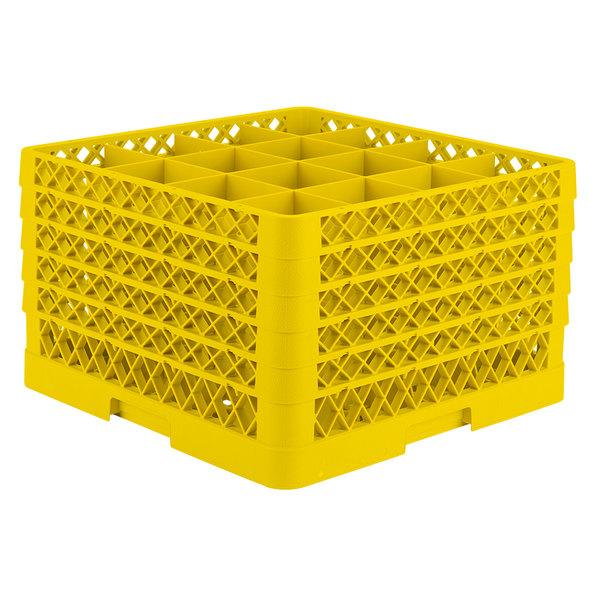 "Vollrath TR8DDDDD Traex® Full-Size Yellow 16-Compartment 11"" Glass Rack"