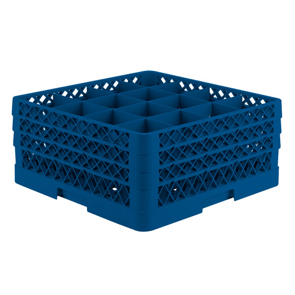 "Vollrath TR8DDD Traex® Full-Size Royal Blue 16-Compartment 7 7/8"" Glass Rack Main Image 1"