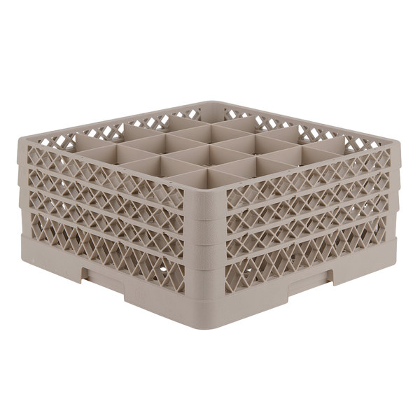 """Vollrath TR8DDA Traex® Full-Size Beige 16-Compartment 7 7/8"""" Glass Rack with Open Rack Extender On Top"""