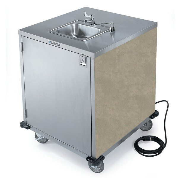 Lakeside 9600 Portable Self-Contained Stainless Steel Hand Sink Cart with Cold Water Faucet, Soap Dispenser, and Beige Suede Finish - 115V