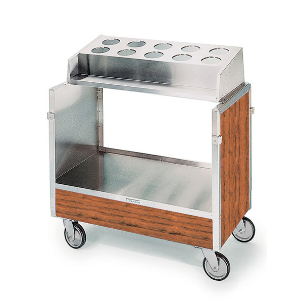 """Lakeside 603VC Stainless Steel Silverware / Tray Cart with 10 Hole Flatware Bin and Victorian Cherry Finish - 22 1/4"""" x 36 1/4"""" x 39 3/4"""" Main Image 1"""