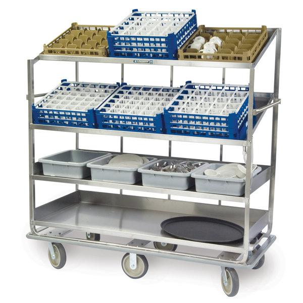 "Lakeside B588 Stainless Steel Soiled Dish Breakdown Cart with 2 Flat Shelves, 2 Angled Shelves - 67 3/4"" x 30 7/8"" x 69 1/4"" Main Image 1"