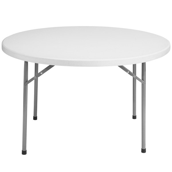 "NPS Round Folding Table, 48"" Plastic, Gray - BT48R"