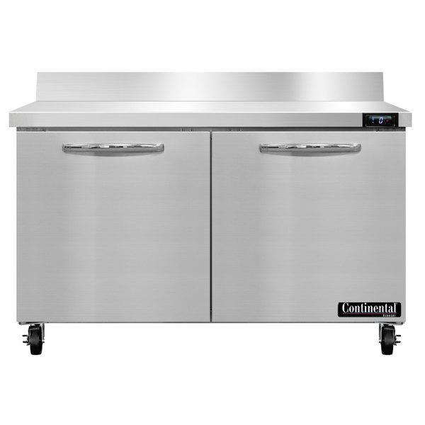 """Continental Refrigerator SWF48-BS 48"""" Two Door Worktop Freezer with Backsplash"""