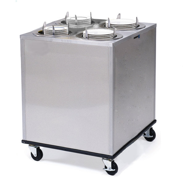 """Lakeside 929 Stainless Steel Mobile Enclosed Four Stack Heated Adjust-A-Fit Dish Dispenser for 6 1/2"""" to 9 3/4"""" Dishes - 120V Main Image 1"""