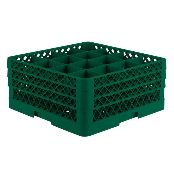 "Vollrath TR8DDD Traex® Full-Size Green 16-Compartment 7 7/8"" Glass Rack"