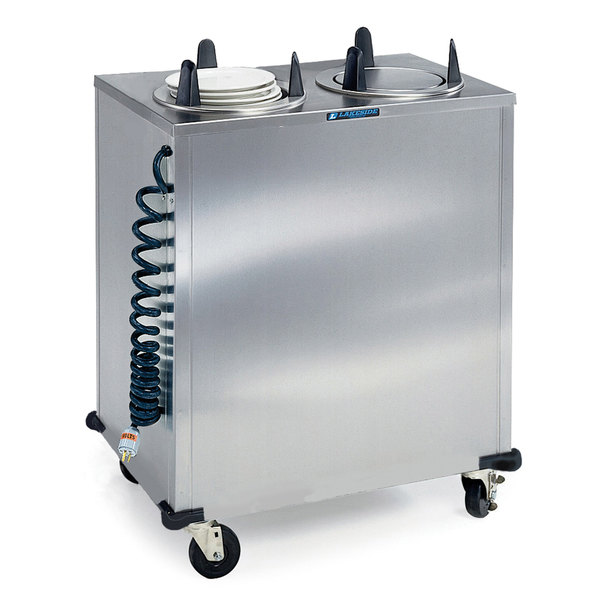 "Lakeside 6209 Stainless Steel Mobile Enclosed Two Stack Heated Dish Dispenser / Warmer for 8 1/4"" to 9 1/8"" Dishes - 120V"