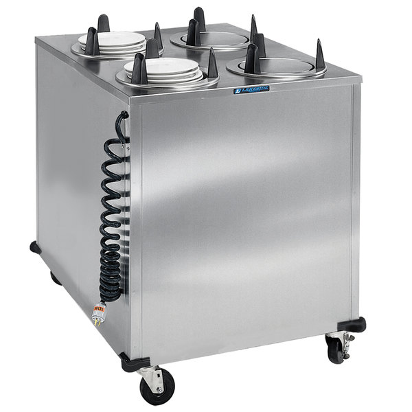 "Lakeside 6410 Stainless Steel Mobile Enclosed Four Stack Heated Dish Dispenser / Warmer for 9 1/4"" to 10 1/8"" Dishes - 120V"