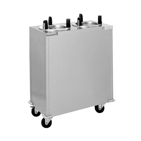 """Delfield CAB2-1450QT Quick Temp Mobile Enclosed Two Stack Heated Dish Dispenser / Warmer for 12"""" to 14 1/2"""" Dishes - 120V"""