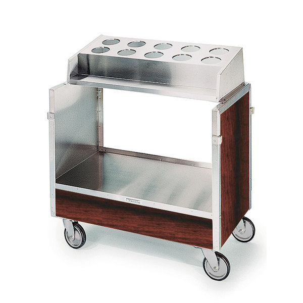 "Lakeside 603 Stainless Steel Silverware / Tray Cart with 10 Hole Flatware Bin and Red Maple Finish - 22 1/4"" x 36 1/4"" x 39 3/4"""