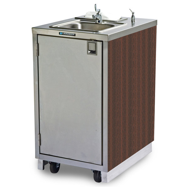 Lakeside 9620 Portable Self-Contained Stainless Steel Hand Sink Cart with Hot Water Faucet, Soap Dispenser, and Walnut Finish - 120V