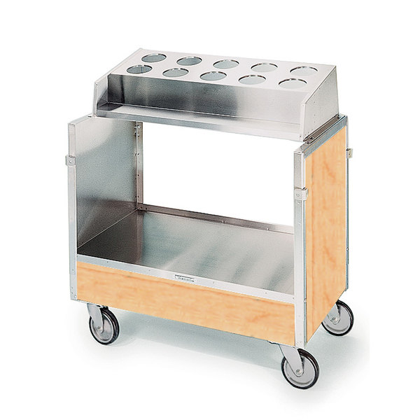 "Lakeside 603 Stainless Steel Silverware / Tray Cart with 10 Hole Flatware Bin and Hard Rock Maple Finish - 22 1/4"" x 36 1/4"" x 39 3/4"""