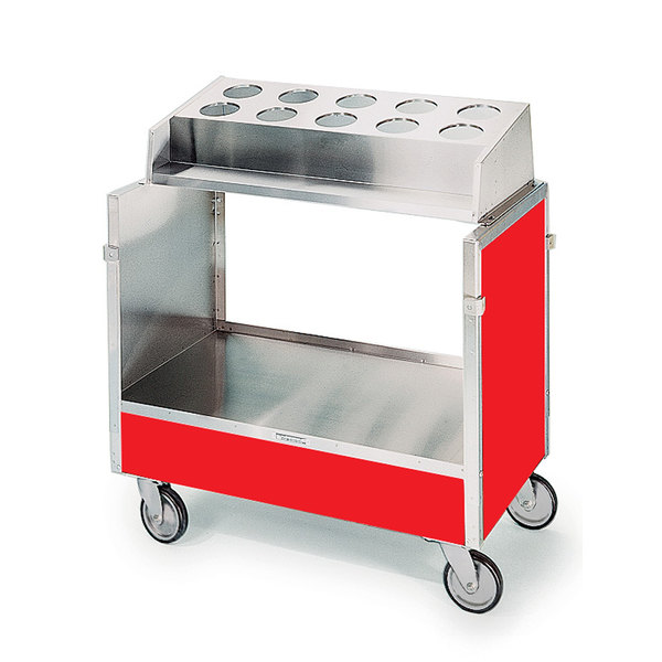 """Lakeside 603 Stainless Steel Silverware / Tray Cart with 10 Hole Flatware Bin and Red Finish - 22 1/4"""" x 36 1/4"""" x 39 3/4"""""""