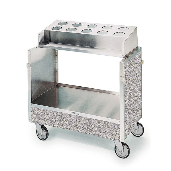 """Lakeside 603 Stainless Steel Silverware / Tray Cart with 10 Hole Flatware Bin and Gray Sand Finish - 22 1/4"""" x 36 1/4"""" x 39 3/4"""""""