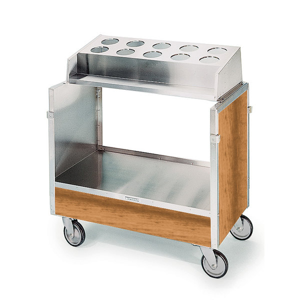 """Lakeside 603 Stainless Steel Silverware / Tray Cart with 10 Hole Flatware Bin and Light Maple Finish - 22 1/4"""" x 36 1/4"""" x 39 3/4"""""""