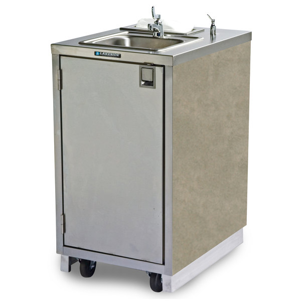 Lakeside 9620 Portable Self-Contained Stainless Steel Hand Sink Cart with Hot Water Faucet, Soap Dispenser, and Beige Suede Finish - 120V