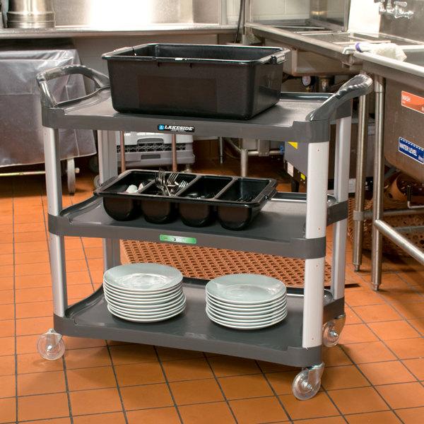 "Lakeside 2512 Charcoal Plastic Three Shelf Utility Cart - 42"" x 20"" x 37 1/2"" Main Image 3"