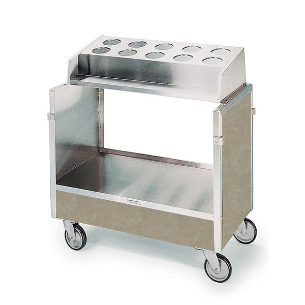 "Lakeside 603 Stainless Steel Silverware / Tray Cart with 10 Hole Flatware Bin and Beige Suede Finish - 22 1/4"" x 36 1/4"" x 39 3/4"""