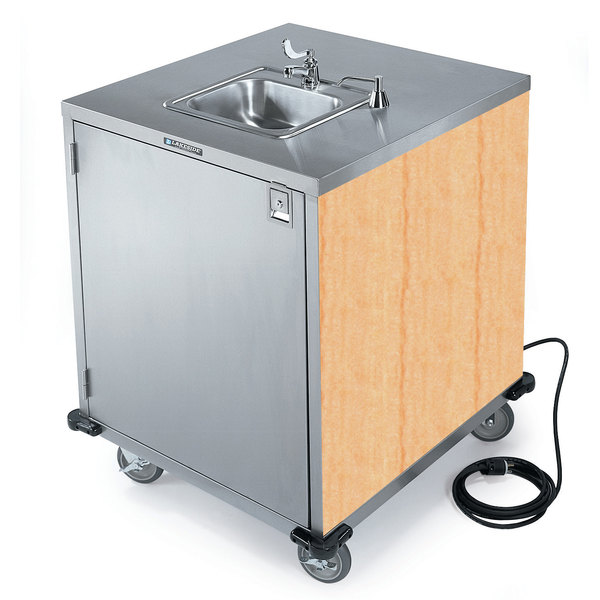 Lakeside 9600 Portable Self-Contained Stainless Steel Hand Sink Cart with Cold Water Faucet, Soap Dispenser, and Hard Rock Maple Finish - 115V