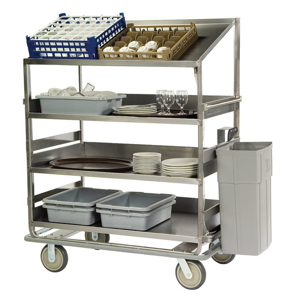 "Lakeside B597 Stainless Steel Soiled Dish Breakdown Cart with 1 Flat Shelf, 3 Angled Shelves - 75 1/2"" x 30 7/8"" x 69 1/4"" Main Image 1"