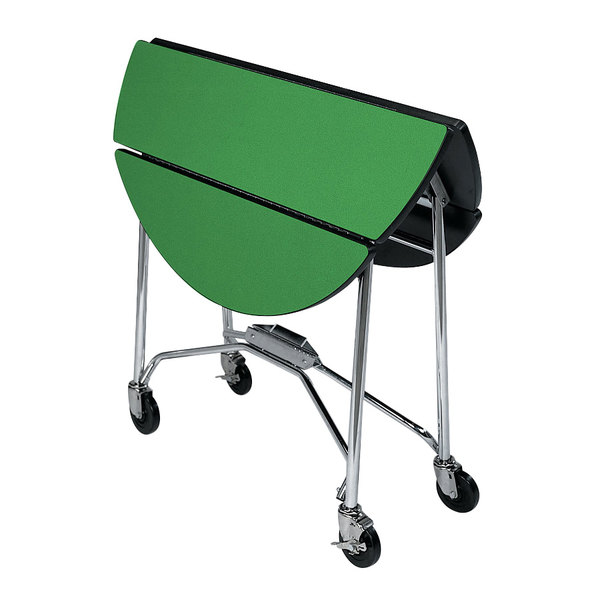 "Lakeside 415 Mobile Round Top Fold-Up Room Service Table with Green Finish - 22 1/4"" x 40"" x 30"""