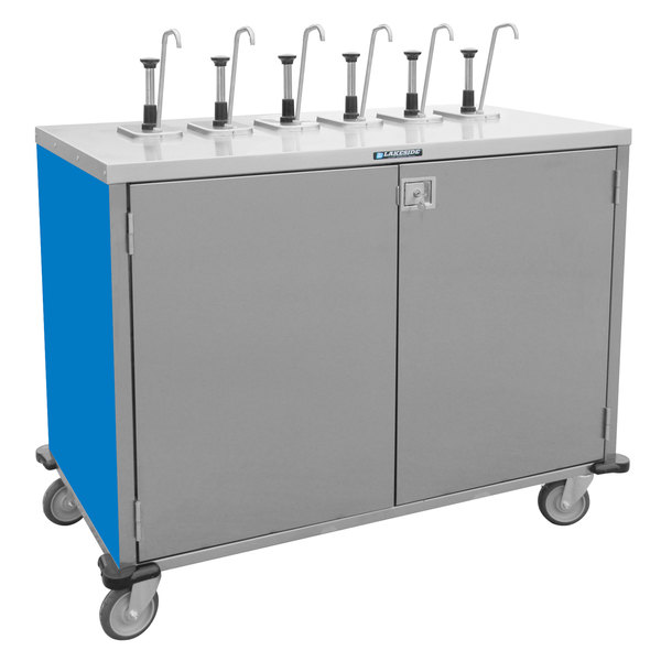 "Lakeside 70201BL Stainless Steel E-Z Serve 8-Pump Condiment Dispensing Cart with Royal Blue Finish for 3 Gallon Condiment Pouches - 27 1/2"" x 50 1/4"" x 48 1/2"""