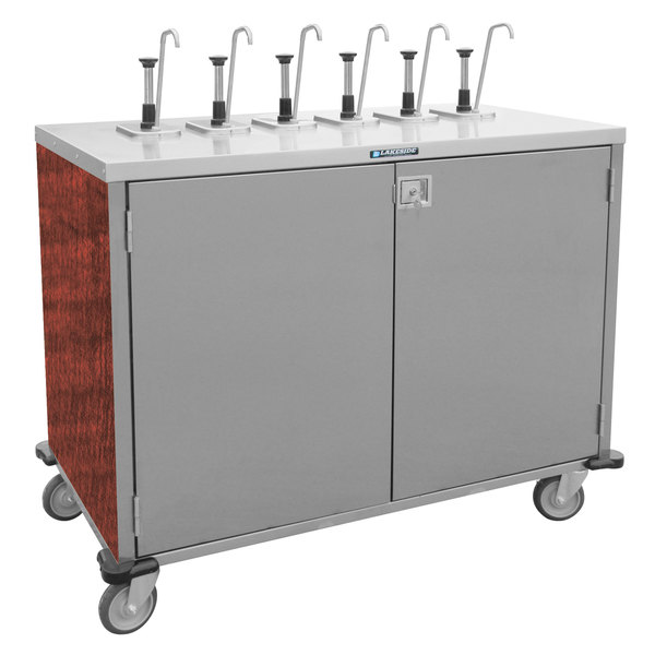 "Lakeside 70221RM Stainless Steel E-Z Serve 4-Pump Condiment Dispensing Cart with Red Maple Finish for 3 Gallon Condiment Pouches - 27 1/2"" x 33"" x 48 1/2"""