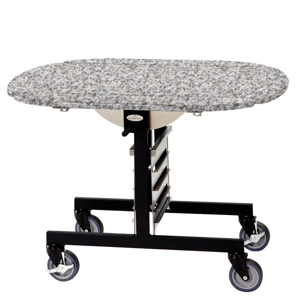 """Geneva 74405 Mobile Oval Top Tri-Fold Room Service Table with Gray Sand Finish - 36"""" x 43"""" x 31"""""""